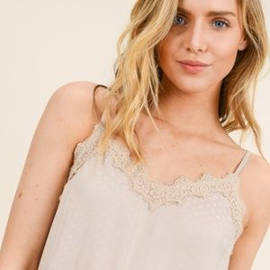 Camisole Top, Beige Polka Dots & Lace by Doe & Rae